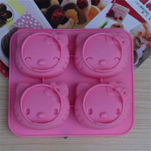 Cartoon hello kitty model 4 with two kinds of expression cat mold silicone cake mold Soap mold