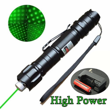 High Power 5mW 532nm Lazer Pointer Pen Green Laser Pen Burning Beam Light Waterproof With 18650 Battery+18650 Charger #83872(China)
