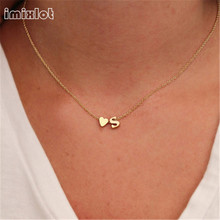 Fashion Personalized love heart Letter Alphabet Pendant Necklace Initial Necklaces Charms For Women Mini Jewelry Chain