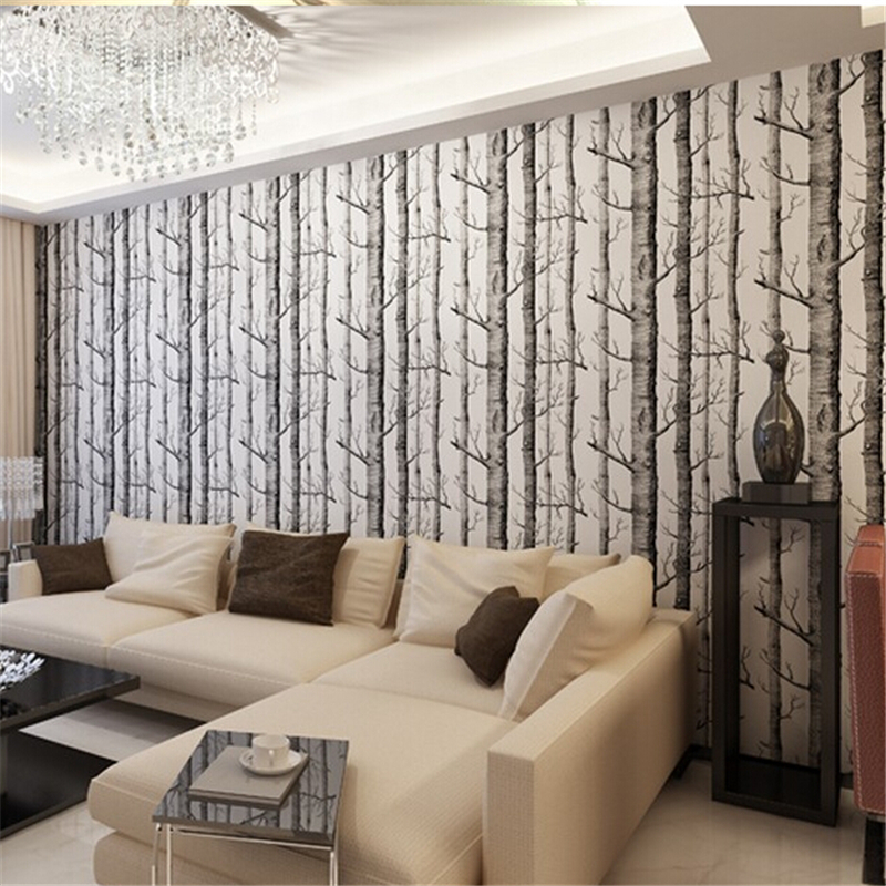 beibehang Birch Tree pattern woods wallpaper papel de parede 3d wallpaper backgroumd of wall paper roll papel de parede listrado<br>