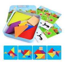 Classic 7 Pieces Clever Board Jigsaw Puzzle Toy for Children Early Learning Tin Case Packed Wood Jigsaw Puzzle(China)