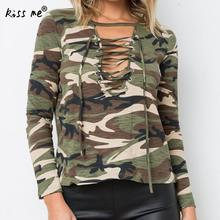 New Autumn Spring Women T Shirt Print Camouflage Long Sleeve O Neck Female Shirts Casual Slim Sexy Lace Up Women Tops Green XL(China)