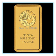 Ebay Hotsales! 5PCS/lot Non magnetic 24k gold plated perth mint australia bullion bar,replica bar free shipping