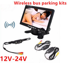 "Wireless 12-24V Bus Truck rearview parking security Assistance 7"" Vehicle Reverse Monitor+Wireless Transmitter+7 LED Rear Camera"