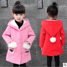 Wini baby Children's clothing  Girls woolen coat  2016 new autumn and winter  Middle age children  Wool ball coat 4-14years