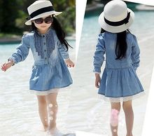 2016 Girl Kids Dress 2-8Y Lovely Denim Blue Beautiful Lace Cowboy Clothes Long Sleeve Casual Dress