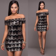 Women sexy hot wrap chest dress scale style sequined paillette shining metal off the shoulder slash neck mini dresses J7403K(China)