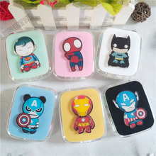 LIUSVENTINA DIY acrylic cute cartoon Spider-Man Batman Iron Man Captain American contact lens case lenses box glasses