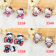 kawaii Cartoon Hello Kitty figurines planar crafts flat back resins bow DIY fairy home garden decoration hair Accessories(China)