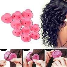 10Pcs Soft Silicone Pink Hair Spiral Rollers Mushroom Curlers DIY Magic No Clip Curling Iron Wand Curl Hair Styling Tools