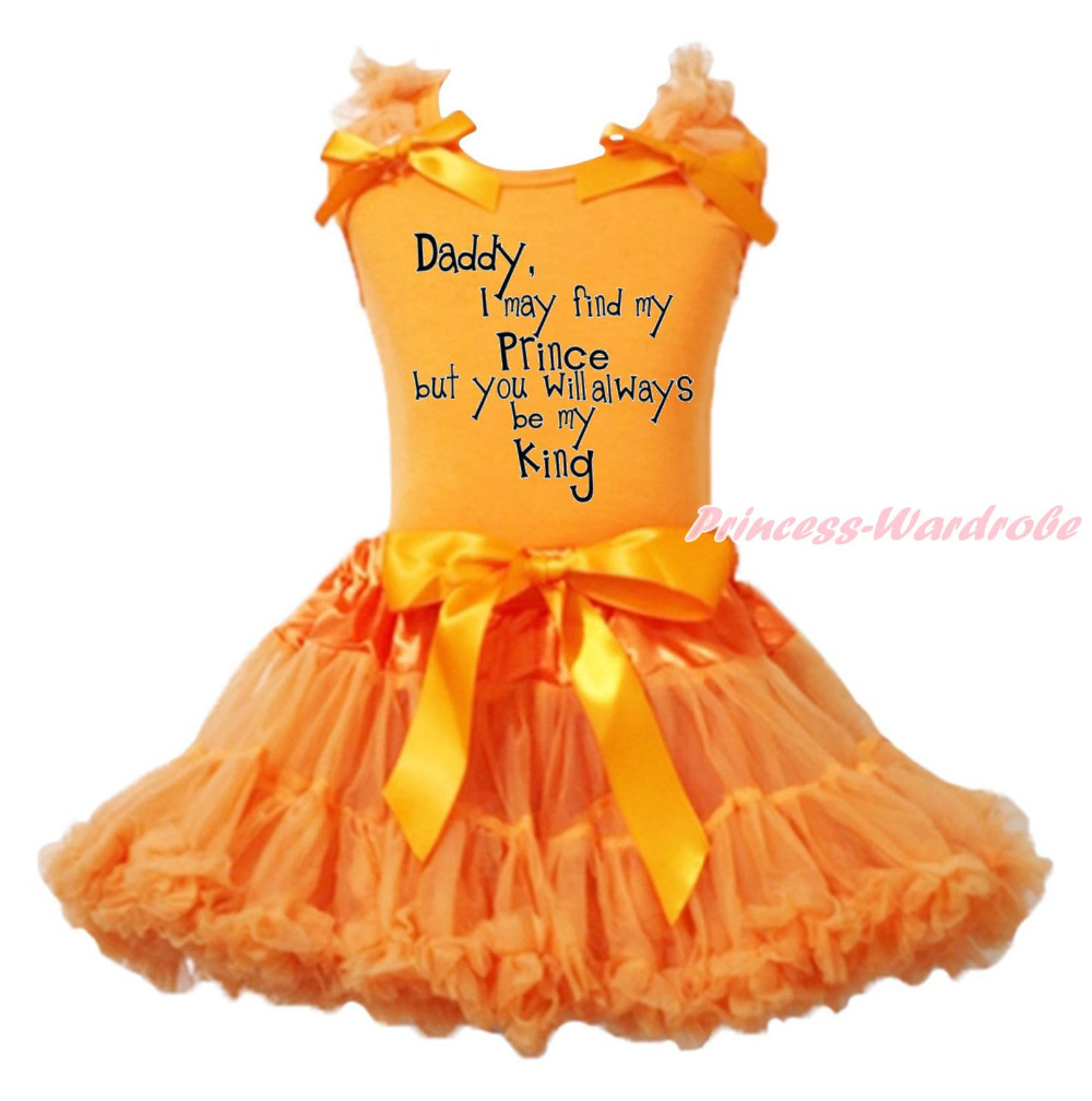 Father Day Daddy always be my King Orange Top Girls Skirt Cloth Outfit Set 1-8Y MAPSA0841<br>