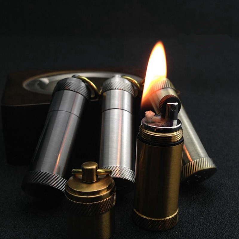 Portable Waterproof Fire Lighter Mini Capsule Shape Oil Gas Lighter Fire Starter Hiking Camping Use Cigarette Accessorie NO GAS(China (Mainland))