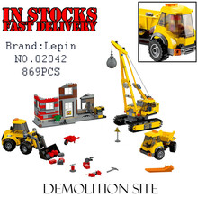 Lepin 02042 Demolition Site 869PCS City Construction Demolition Site Building Blocks Bricks Toys for Kids 60076 juguetes boys
