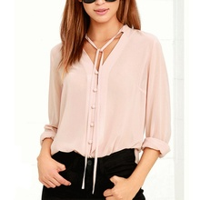 2017 Fashion Summer Women Chiffon Button Long Sleeve Shirt Party Club Beach Sexy V Neck Street Stylish Pink Plus Size Blouse Top