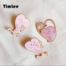 Timlee X312  Free shipping Cute Pink Heart Brooch Pins In Summer ,Fashion Jewelry Wholesale