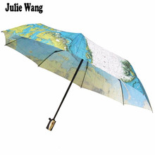 Julie Wang Women's Men's Vintage World Map Umbrella Parasol Automatic 3 Folding Sun Rain Protection Windproof Umbrellas GR-229