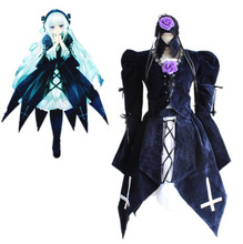 Peach-Pit Rozen Maiden Mercury Lamp Cosplay Costumes Suigintou Full Set Lolita Dress ( Top + Skirt + White Dress +Neckwear )