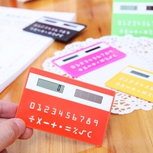 1pc portable calculator mini handheld ultra-thin Card stationery card calculator Solar Power Small Slim Travel Pocket Calculator(China)