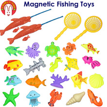 Lovely Too 24pcs Magnetic Fishing Toys Games Plastic 3D Fish With Rod Net Tricks Parent Kids Fun toy Outdoor Educational Gifts(China)