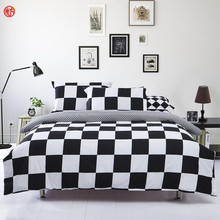 Home textile  black and white star bedding set classic grid stripe bedding 3pcs/set(one duvet cover+two pillowcases) full king