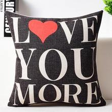 Factory Direct Supply American Style Simple Love Text Linen Lovers Throw Pillow Home Bedside Back Cushion For Wedding Gift