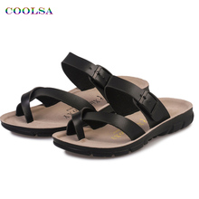 Coolsa New Arrivals Summer Beach Slippers PU Solid Metal Buckle Sandals Soft Non-slip Slides Plus Size Unisex Casual Playa Shoes(China)