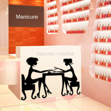 Hot Nail Bar Shop Hair Beauty Salon Wall Art Stickers Decal DIY Home Decoration Mural nail polish oil store name(China)