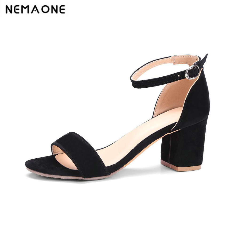 New fashion women sandals ankle strap thick high heels women shoes buckle shoes woman black gray red large size 34-43<br>