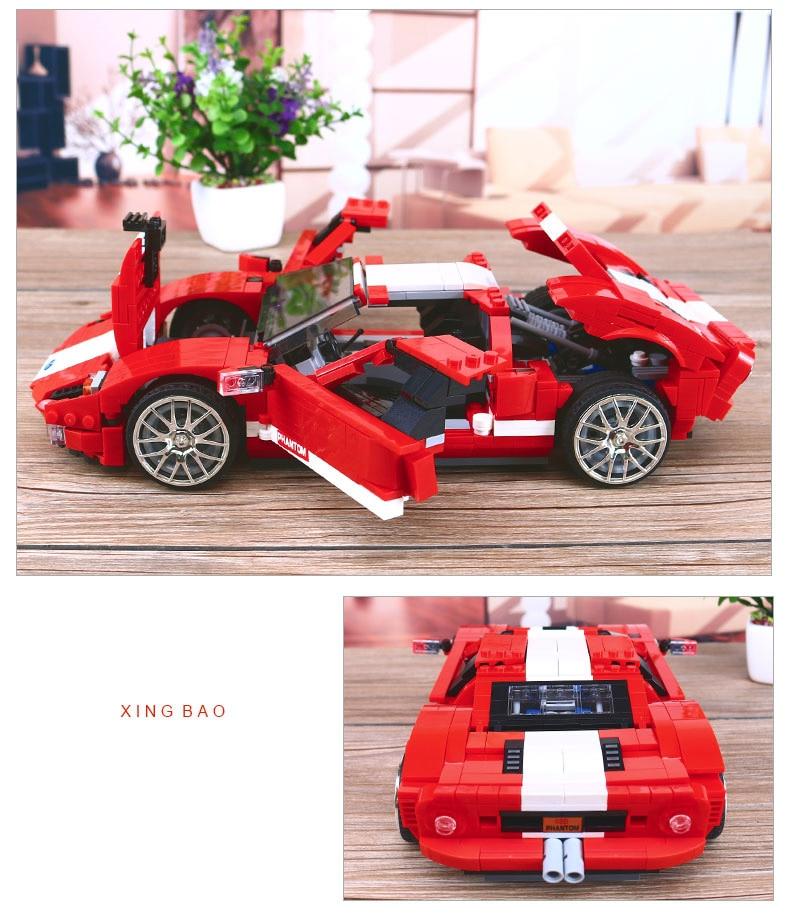Dream-Car Small Super Car Coche a Escala Negro Kit Construcci/ón Xingbao 1 :0