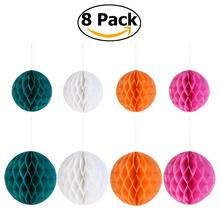 8pcs Paper Honeycomb Balls Fan Lanterns Paper Pom Poms for Birthday Wedding Party Decoration