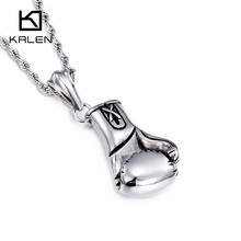 2017 Kalen New European & American Fist Pendant Men's Necklace Long Chain Fashion Stainless Steel Jewelry Cheap Accessories Gift(China)