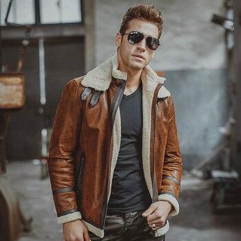 Hommes de cuir véritable veste moto En Cuir de porc Véritable vestes avec similitoison doublure hiver chaud manteau hommes
