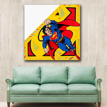 Oil Painting POP art Superman Limited Edition Wall Decor Painted Wall Art Canvas Printed Living Room Painting Wall Art Pictures(China)
