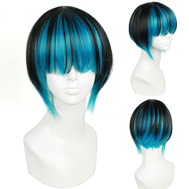 Heat Resistant Japanese Harajuku Synthetic Hair Short Blue Cosplay Wig<br><br>Aliexpress