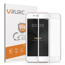 Vrurc Tempered Glass for iPhone 6 6s 3D Curved edge Full Cover Screen Protector Glass protective film with retail package(China)