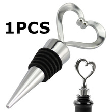 Free Shipping! 1Pcs Stainless Steel Elegant Heart Shaped Red Wine Champagne Collection Wine Bottle Stopper Twist 301-0606