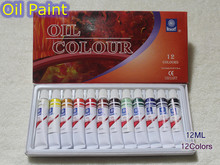 Professional Brand Oil Paint Canvas Pigment Art Supplies Acrylic Paints Each Tube Drawing 12 ML 12 Colors Set(China)