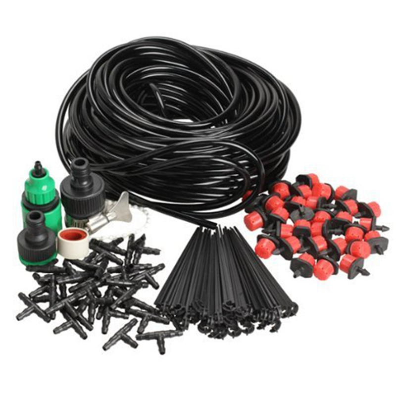 DIY Micro Drip Irrigation System Plant Self Watering Garden Hose Kits with 50M Hose title=
