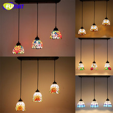 Tiffany 3 Lights Pendant Lamp Rectangle Base Stained Glass Suspension Lights Flower  Restaurant Kitchen Hotel Project Light