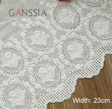 1 Yard/lot Width:23cm Elegant rose design cotton fabric lace sew Embroidered cloth lace garment Trim lace Scrapbooking(ss-4819)