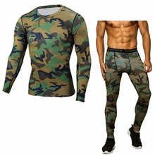 Brand Men Camouflage Running Sets Compression T-Shirt Clothing Long Sleeve T Shirt + Leggings Fitness Quick Dry Crossfit Suits