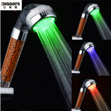 Free shipping,Biggers classic temperature control LED hand shower head magnetic SPA function showers nozzel bathroom shower