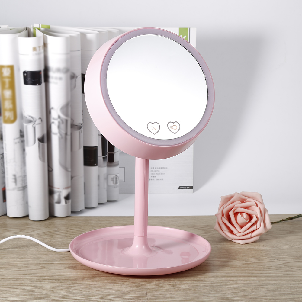 High Quality USB Charged 2 in 1 LED Light Makeup Mirror Table Lamp Vanity Mirror Intelligent Mirror Desk Stand Makeup Mirror<br>