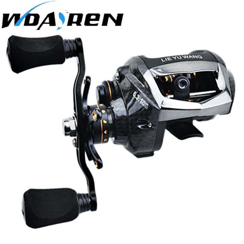 NEW Carbon Fiber Bait 6.3:1 High Speed Baitcasting Reel  12+1BB 195g Super Smooth Bait Casting Fishing Reel with 7.5KG Max Drag<br>