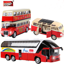 3PCS/LOT 1:24 Volkswagen VW Mini bus London double-decker bus New York Double Decker Sightseeing Tour Bus model Free shipping(China)