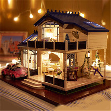 Assembling DIY Model Kit Wooden Doll House Romantic Provence House Miniature Toy with Furnitures & Convertible Gift for Girl