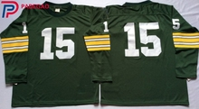 Embroidered Logo Bart Starr 15 white green throwback high school FOOTBALL JERSEY for fans gift cheap 1107-19(China)