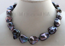 "Free Shipping 17"" Genine Natural Black Baroque Reborn Keshi Pearl Necklace 14KGP #f2576(China)"