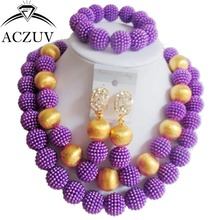 Brand ACZUV 18inches African Beads Gold Accessories and Plastic Pearl Purple Jewelry Sets AN044