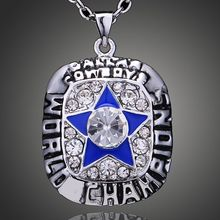 3PCS New NFL 1971 Super Bowl The Dallas Cowboys Championship Pendant Sport Necklace For Unisex Fashion Jewelry Crystal Necklace